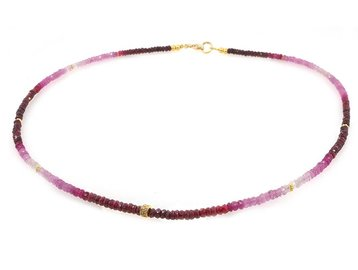 Trabert Goldsmiths Ombre Ruby Beaded Necklace E1580