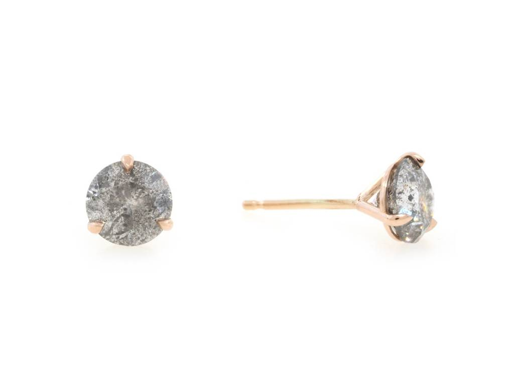 Trabert Goldsmiths 2.10ct Salt and Pepper Galaxy Dia Studs