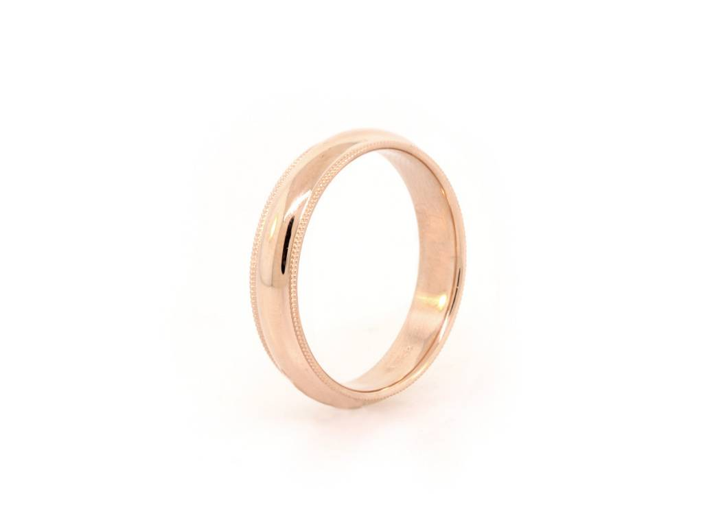 Gold Half Round Band with Miligrain Edge