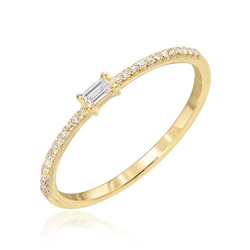 Liven Small Baguette & Pave Diamond Ring
