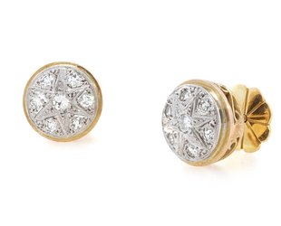 Trabert Goldsmiths Antique Diamond Star Earrings E1457