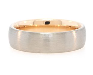 Brushed White Gold & Rose Gold Interior Ring PS44