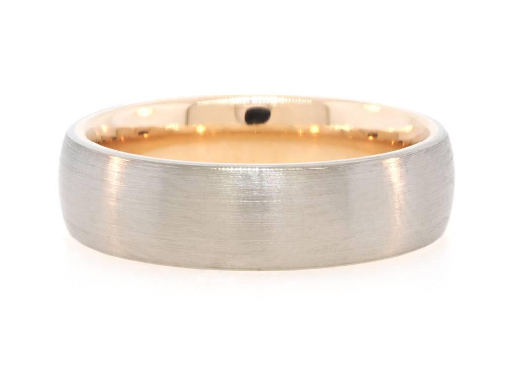 Brushed White Gold & Rose Gold Interior Ring