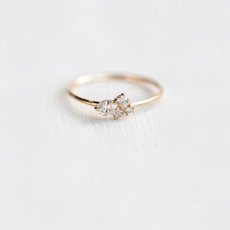Melanie Casey Snow Owl Mini Diamond Cluster Ring
