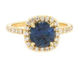 Trabert Goldsmiths 2.28ct Montana Sapphire 'Goddess' Halo Ring E1614