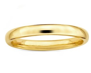 Trabert Goldsmiths 3mm Men's Half Round Gold Band E1624