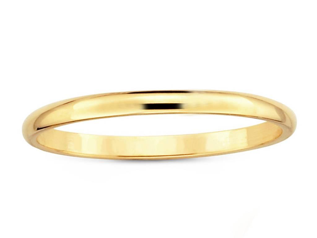 Trabert Goldsmiths 2mm Half Round Yellow Gold Band E1628