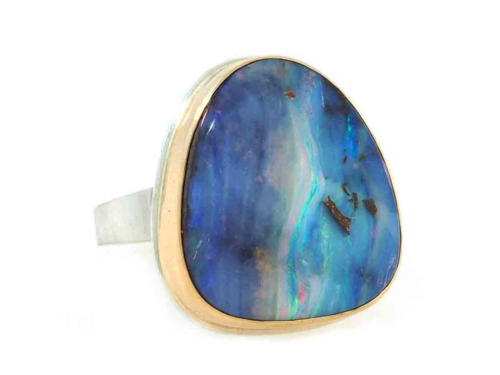 Jamie Joseph Jewelry Designs Asymmetrical Boulder Opal Bezel Ring