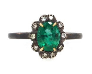 Trabert Goldsmiths Emerald & Diamond Sterling Ring E1554