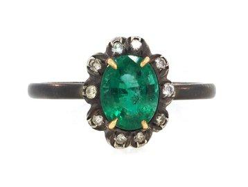 Emerald & Diamond Sterling Ring E1554