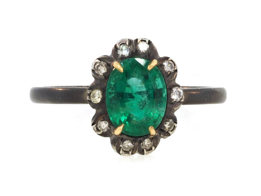 Emerald & Diamond Sterling Ring