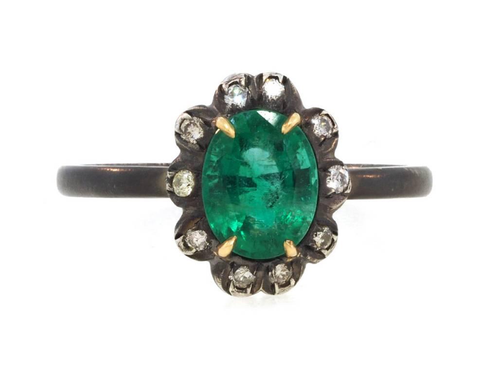 Trabert Goldsmiths Emerald & Diamond Sterling Ring