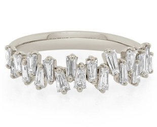 Trabert Goldsmiths White Gold Freeform Baguette Dia Ring E1642