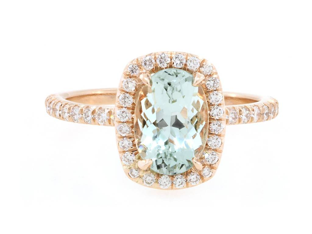 Trabert Goldsmiths 1.18ct Mint Green Aquamarine Goddess Ring