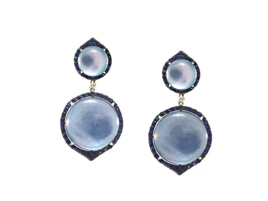Dilamani Lapis Shell & Sapphire Statement Earrings