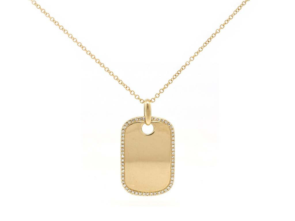 Diamond and Gold Tag Necklace