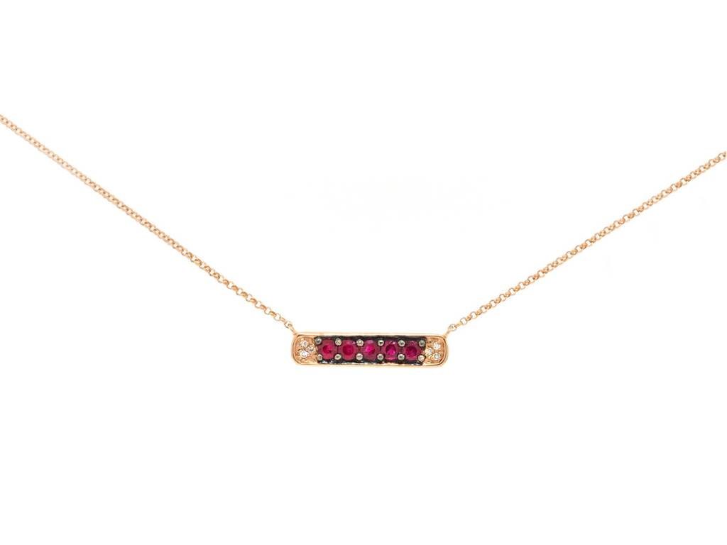 Dilamani Diamond and Ruby Bar Necklace