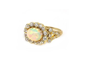 Antique Victorian Opal and Diamond Ring E1655