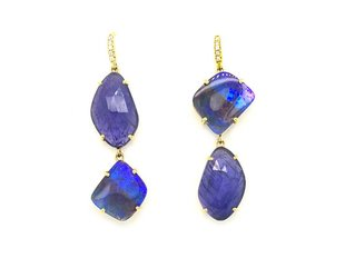 Lauren K Boulder Opal and Tanzanite Drop Earrings LK33