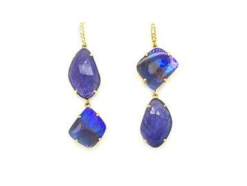 Lauren K Boulder Opal and Tanzanite Drop Earrings LK33