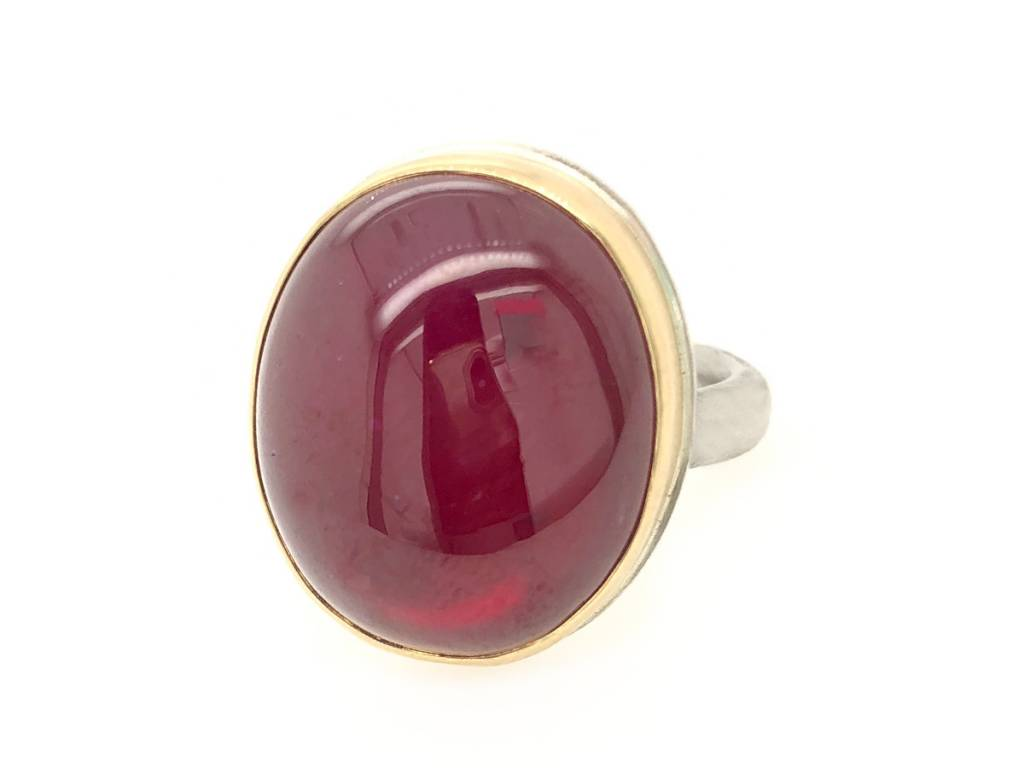 Jamie Joseph Jewelry Designs Oval Smooth African Ruby Ring