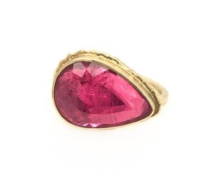 Jamie Joseph Jewelry Designs Pear Cut Rubellite Ring JD116