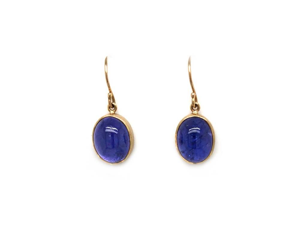 Jamie Joseph Jewelry Designs Smooth Oval Tanzanite Drop Earrings