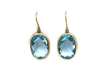 Jamie Joseph Jewelry Designs Oval Faceted Blue Topaz Drop Earrings JD133