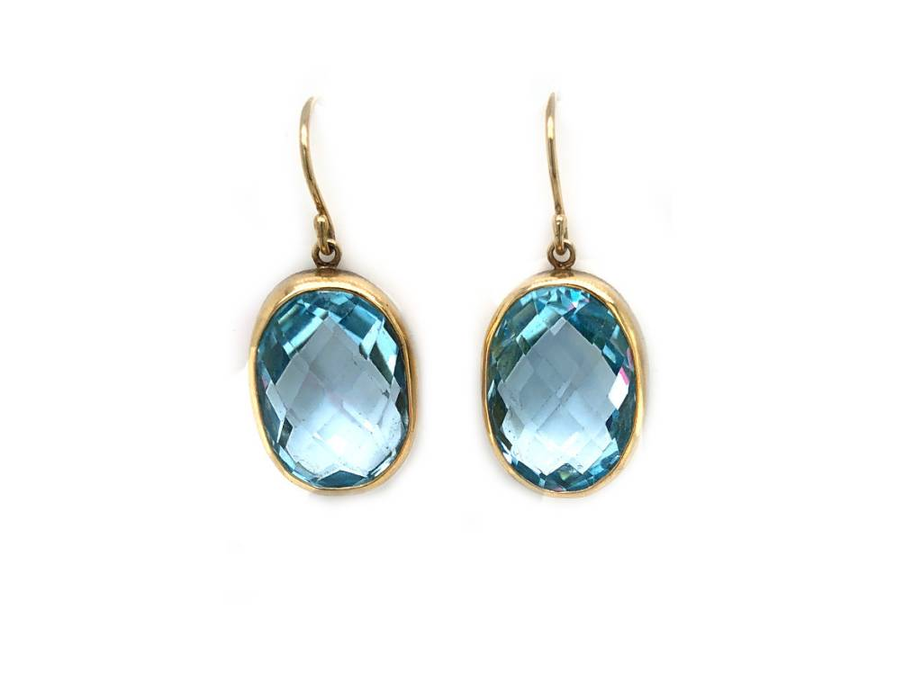 Jamie Joseph Jewelry Designs Oval Faceted Blue Topaz Drop Earrings