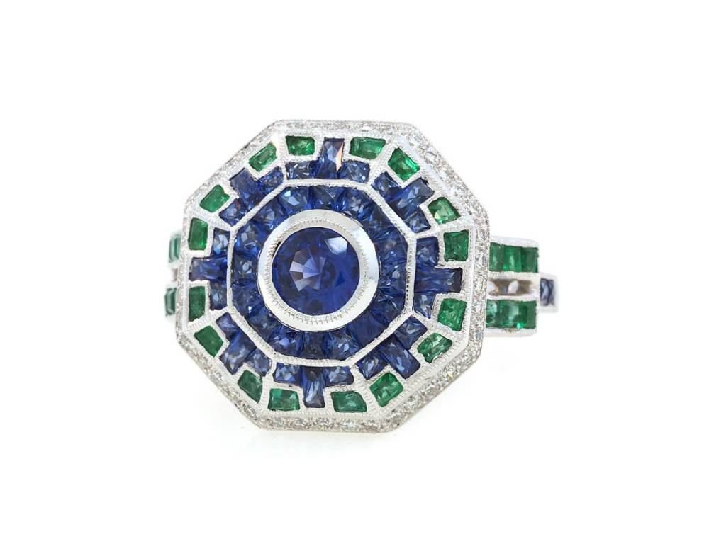 Beverley K Collection Deco Geometric Sapphire and Emerald Ring
