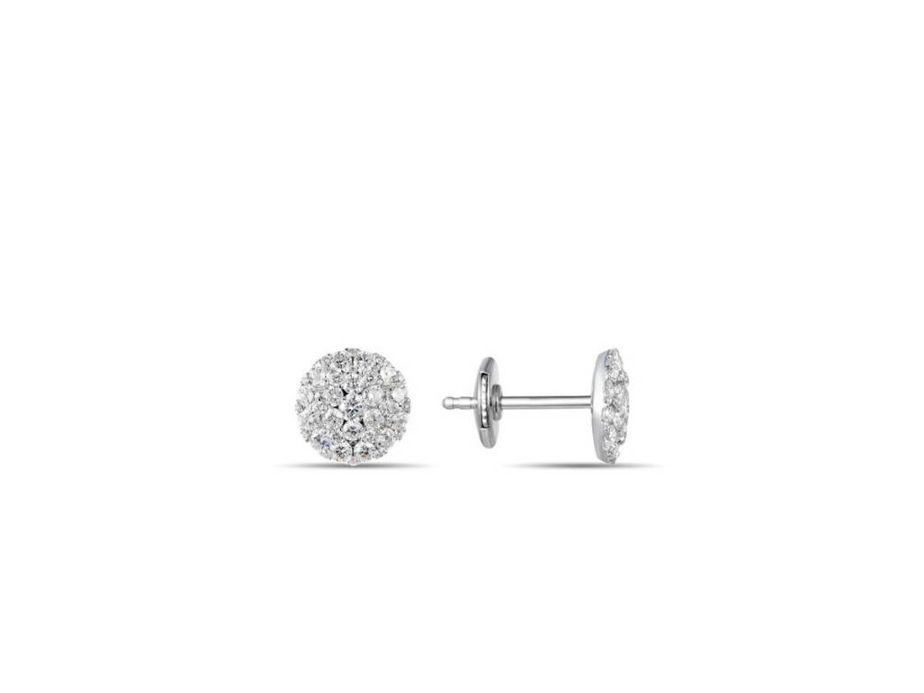 Luvente Pave Diamond Circle Stud Earrings