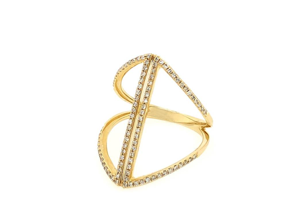 Luvente Geometric Open Pave Diamond Ring