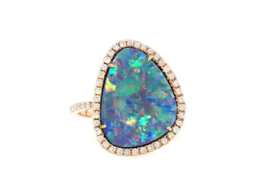 Asymmetrical Opal and Diamond Ring