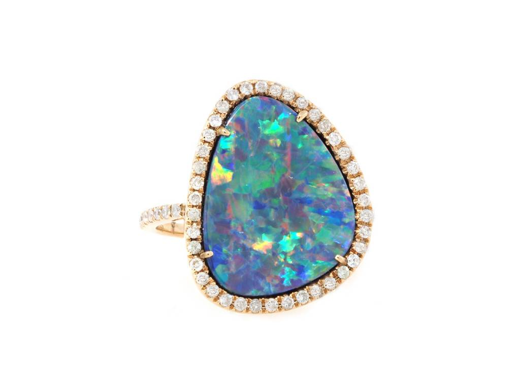Trabert Goldsmiths Asymmetrical Opal and Diamond Ring