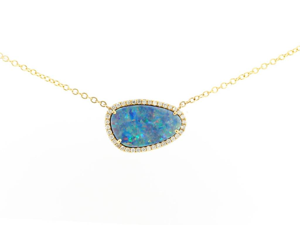 Trabert Goldsmiths Asymmetrical Opal and Diamond Necklace