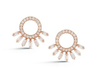 Trabert Goldsmiths Sunburst Baguette and Pave Diamond Studs DR5