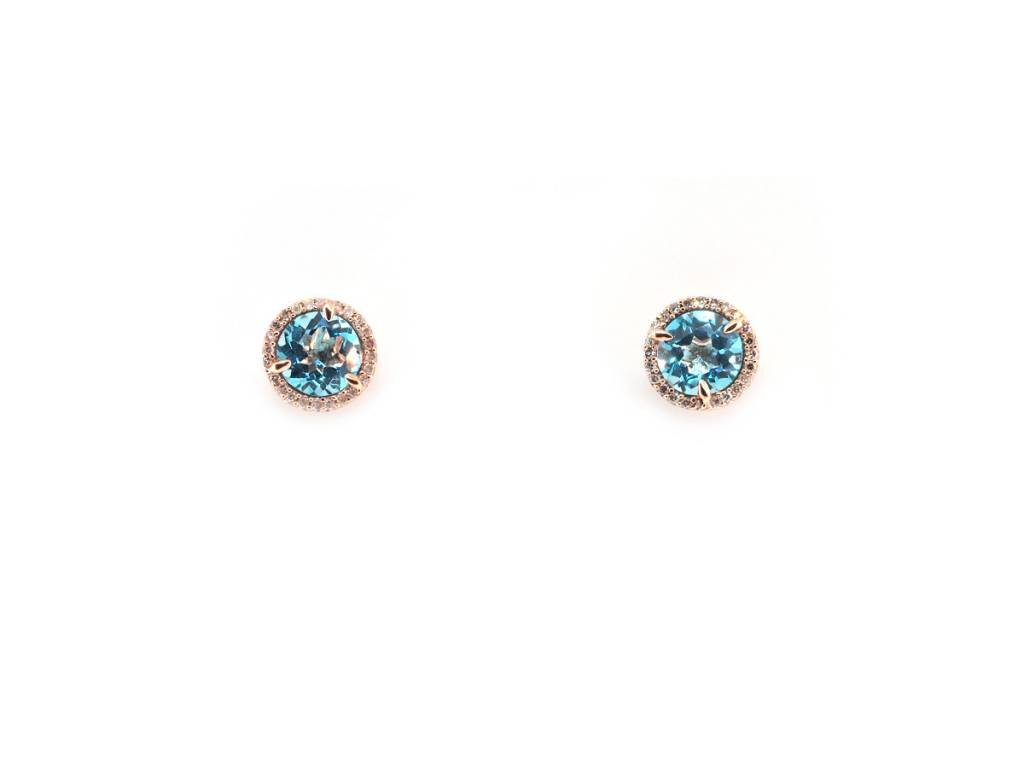 Trabert Goldsmiths Blue Topaz and Dia Halo Stud Earrings E1695