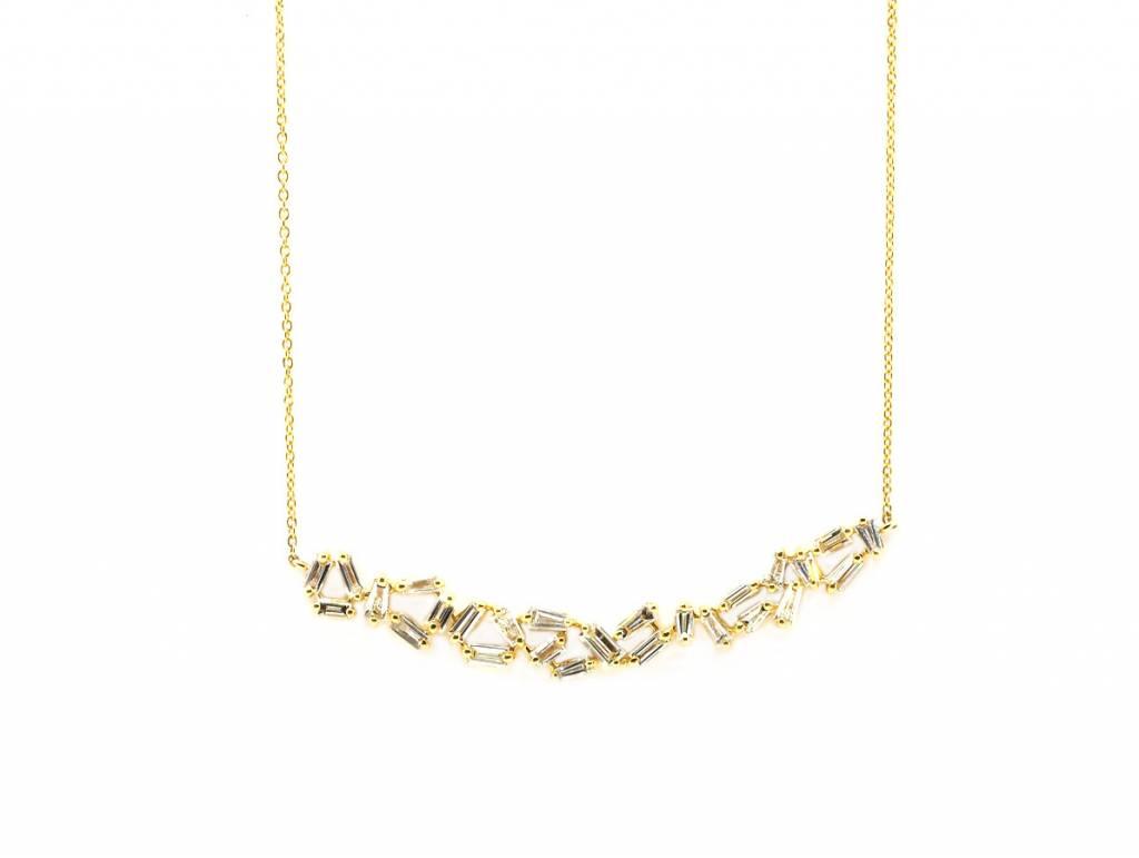 Trabert Goldsmiths 1.55ct Baguette Dia Gold Bib Necklace