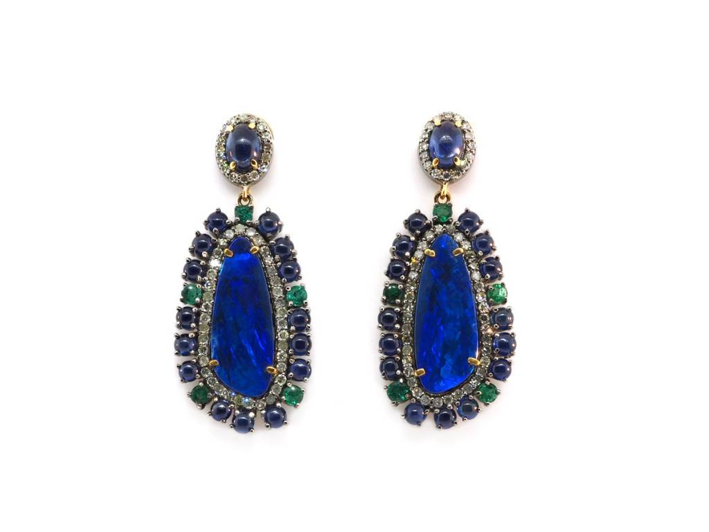 Trabert Goldsmiths Opal and Sapphire Statement Earrings