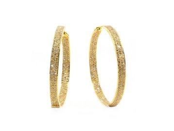 Trabert Goldsmiths Champagne Diamond Gold Hoop Earrings E1719