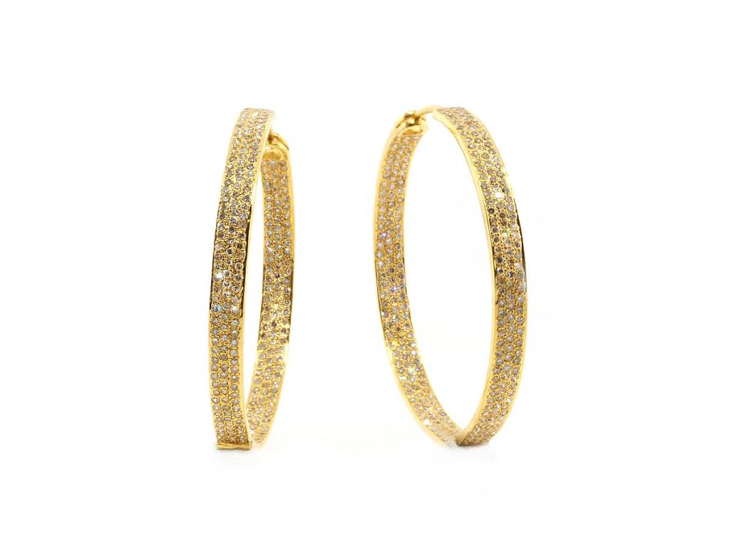 Trabert Goldsmiths Champagne Diamond Gold Hoop Earrings