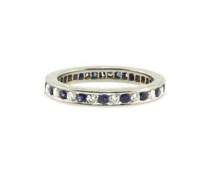 Trabert Goldsmiths Vintage Sapphire and Dia Eternity Band E1721