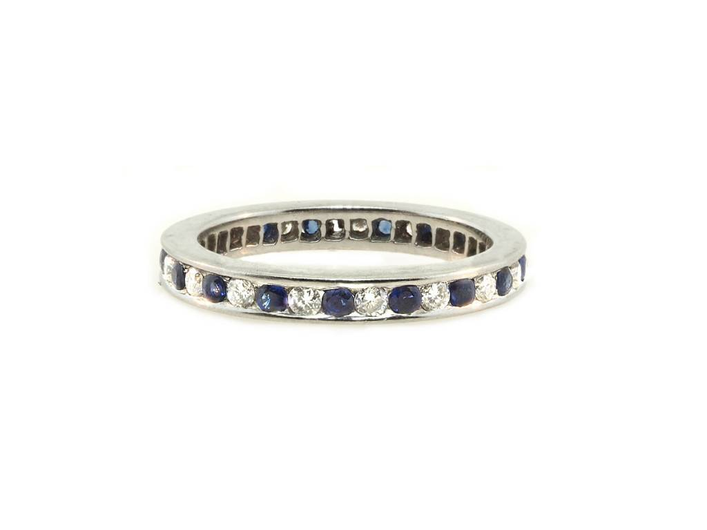 Trabert Goldsmiths Vintage Sapphire and Dia Eternity Band