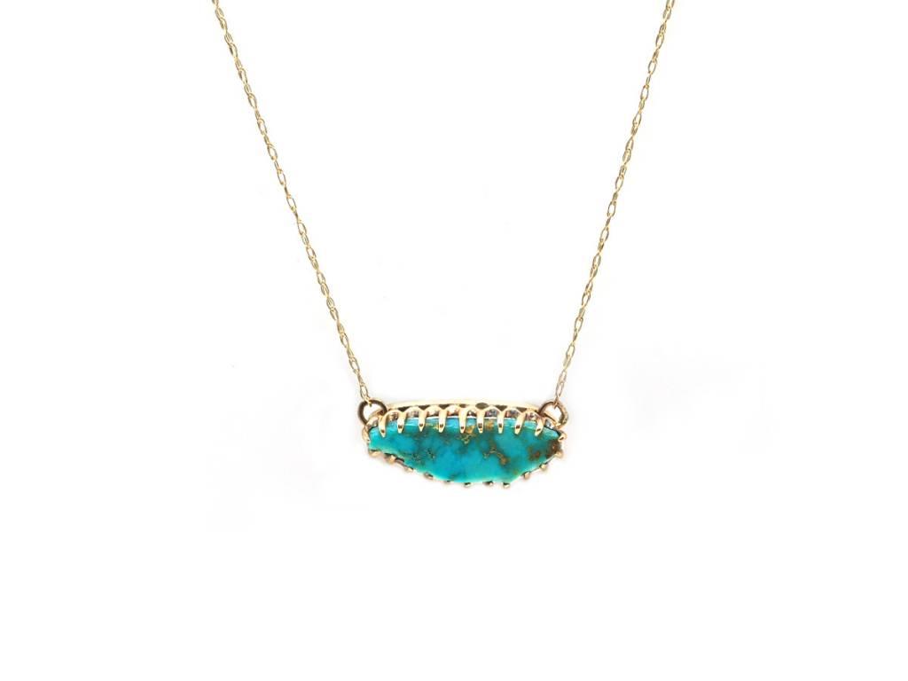Trabert Goldsmiths Antique Turquoise Gold Necklace
