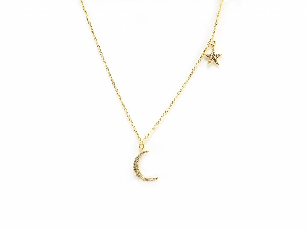 Trabert Goldsmiths Diamond Moon and Star Necklace