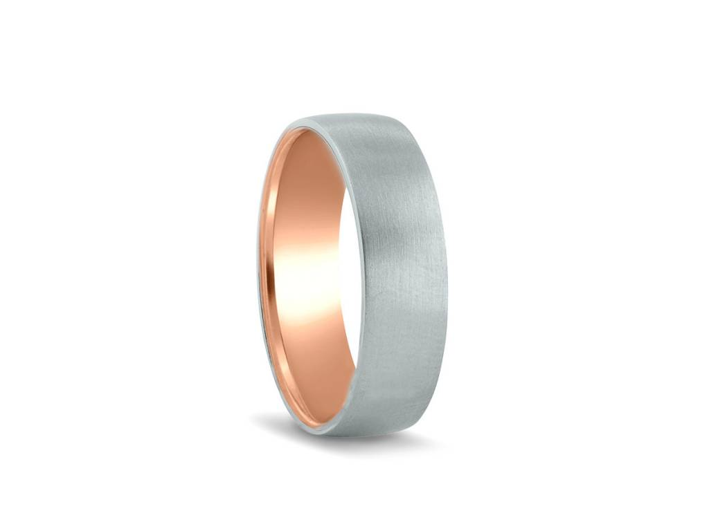 Novell Men's Platinum and Rose Gold Interior Band
