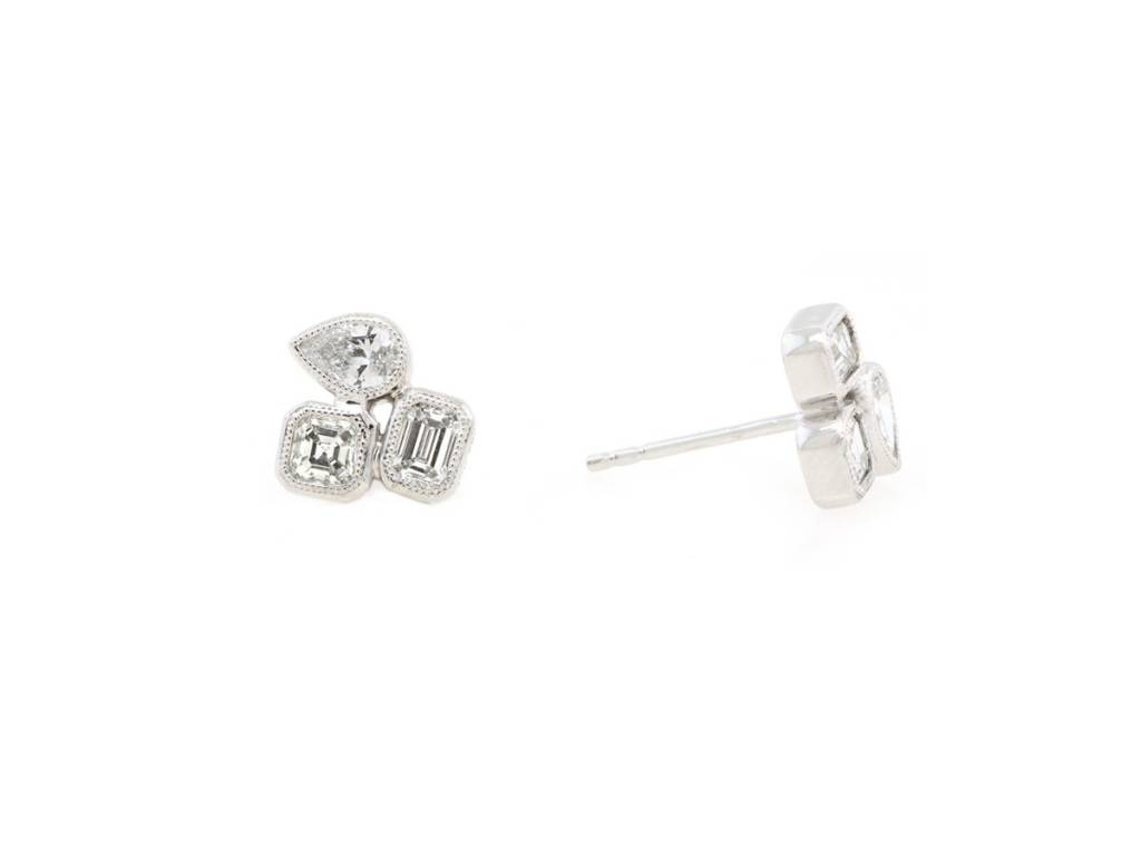 Trabert Goldsmiths 0.90ct Mixed Shape Diamond Stud Earrings