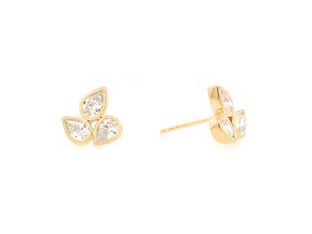 Trabert Goldsmiths 0.89ct Mixed Dia Stud Gold Earrings