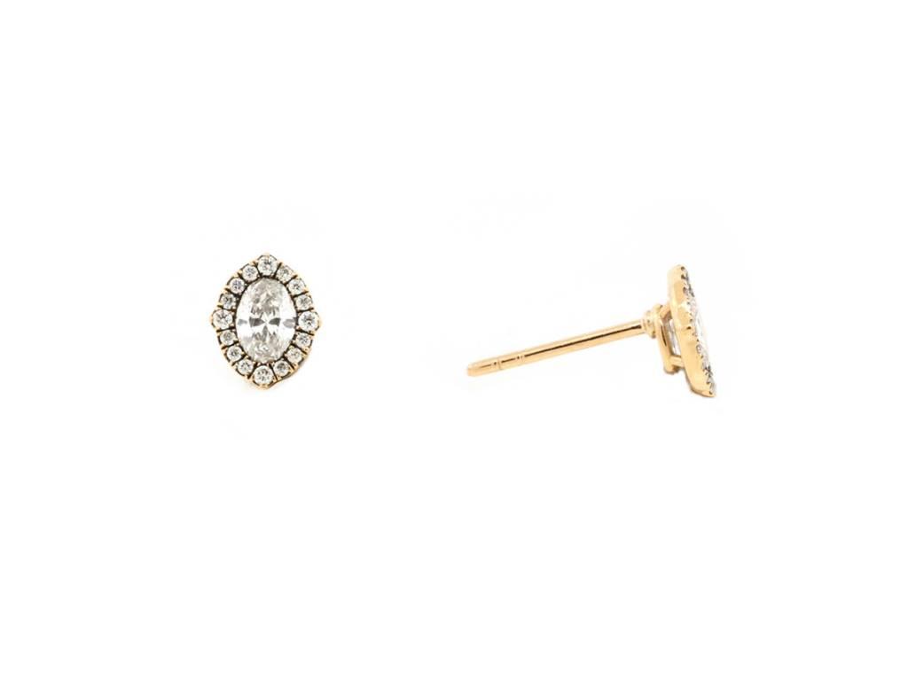 Trabert Goldsmiths 0.50ct Oval Diamond Cluster Halo Earrings