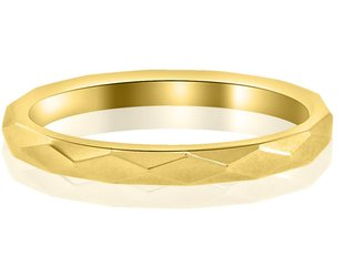 Trabert Goldsmiths Wide Gold Faceted Spectra Band